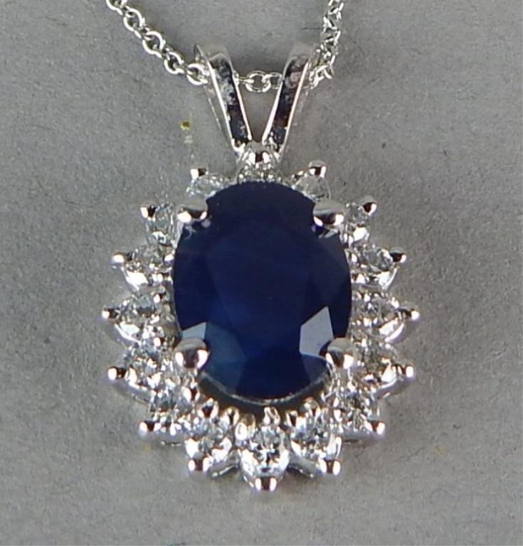 14K White Gold Sapphire and Diamond Necklace - 3