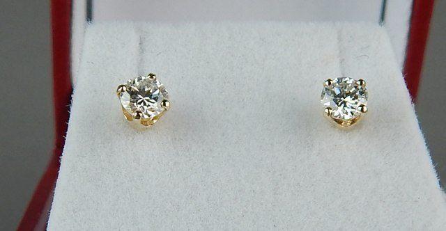 14k Yellow Gold 0.50 ct. Diamond Stud Earrings