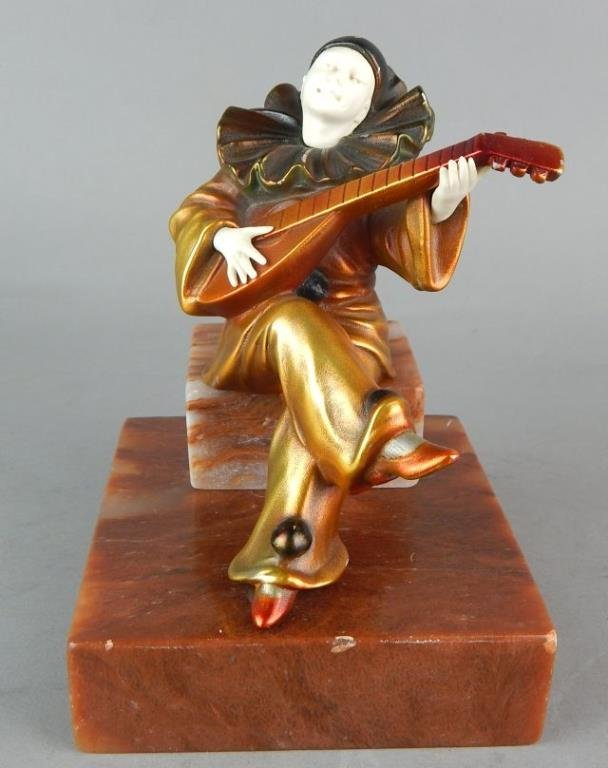 Art Deco Clown Sculpture on Marble Base