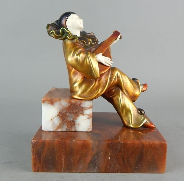 Art Deco Clown Sculpture on Marble Base - 3