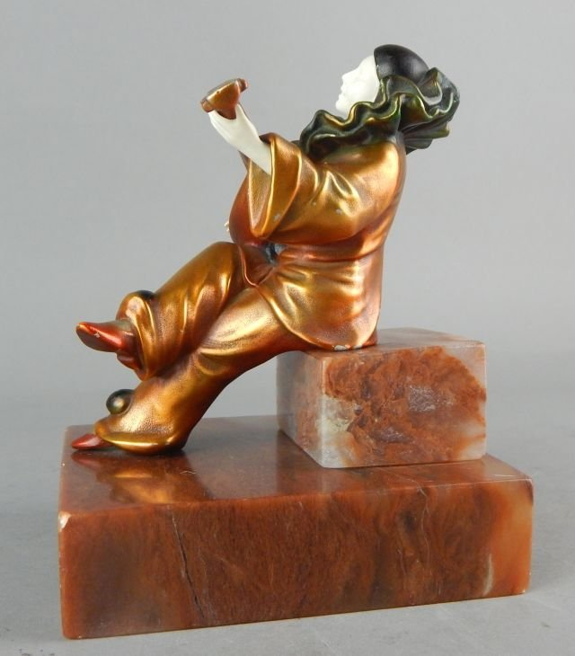 Art Deco Clown Sculpture on Marble Base - 5