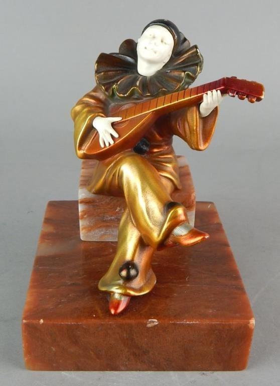 Art Deco Clown Sculpture on Marble Base - 7