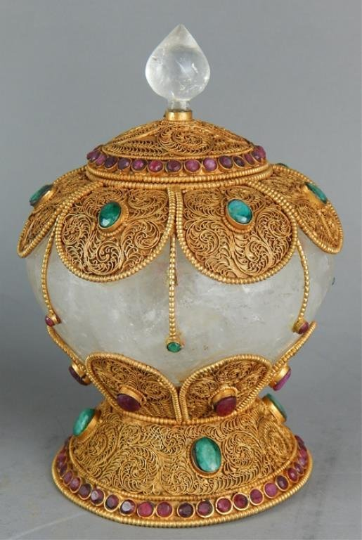 Decorated Chinese Rock Crystal Covered Bowl - 2