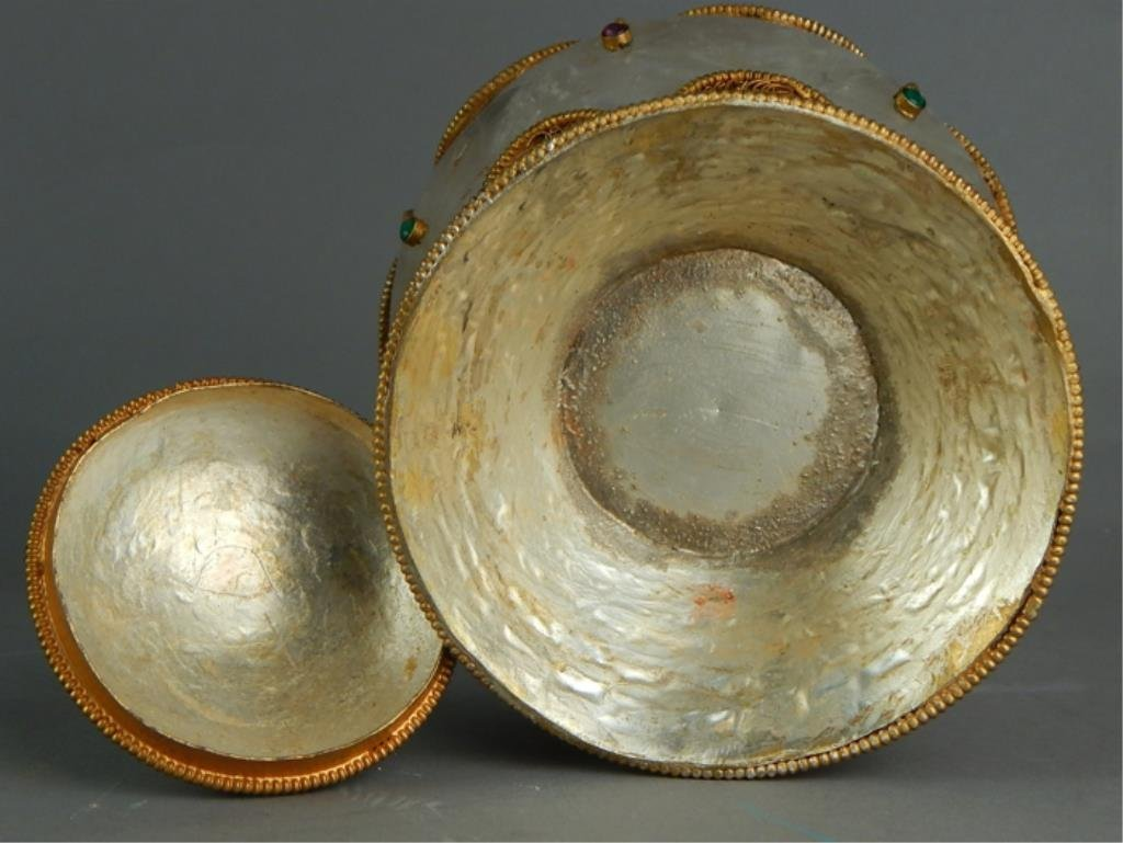 Decorated Chinese Rock Crystal Covered Bowl - 6