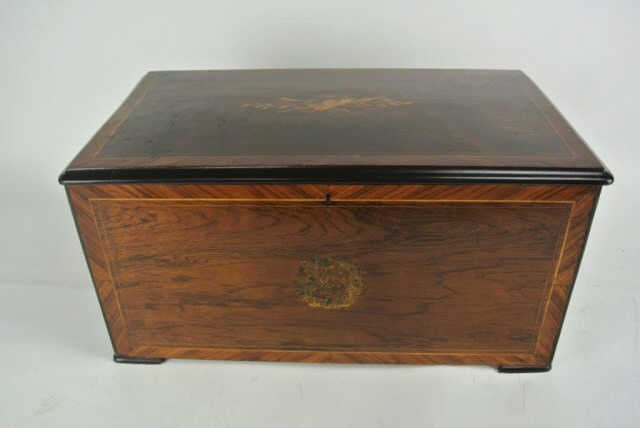 Inlaid Marquetry Cylinder Music Box
