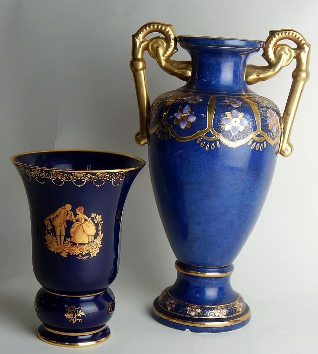 Chinese Enameled & Limoges Cobalt Vases