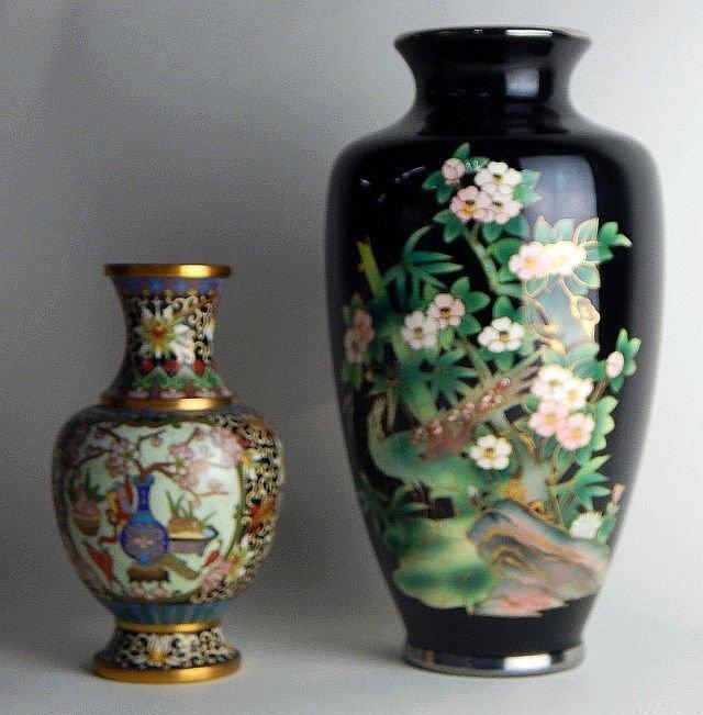 Chinese Black Porcelain & Cloisonne Vase