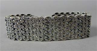 Ladies Sterling Silver Bracelet With Marcasite