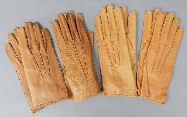 Four Pair Tan Vintage Leather Parisian Gloves