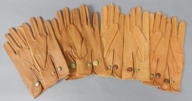 Four Pair Tan Vintage Leather Parisian Gloves - 2