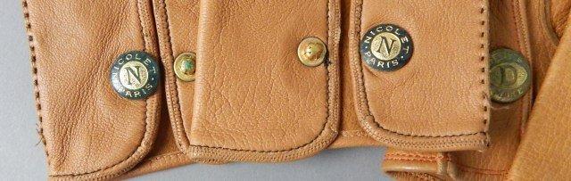 Four Pair Tan Vintage Leather Parisian Gloves - 3
