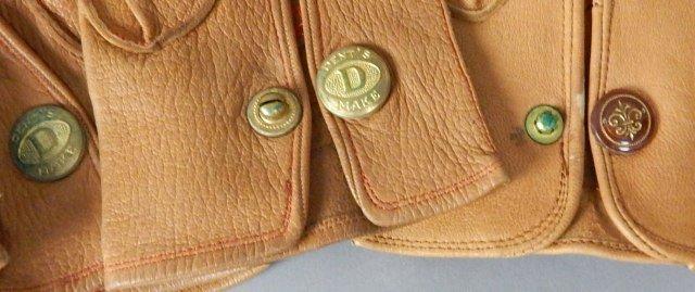 Four Pair Tan Vintage Leather Parisian Gloves - 4