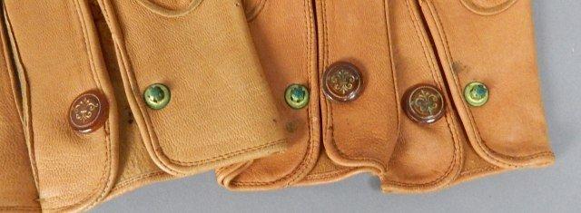 Four Pair Tan Vintage Leather Parisian Gloves - 5