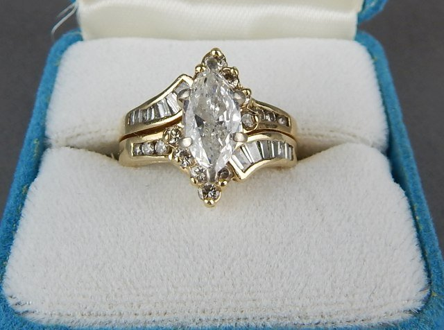 Fine Diamond Ring Set In 14K Yellow Gold