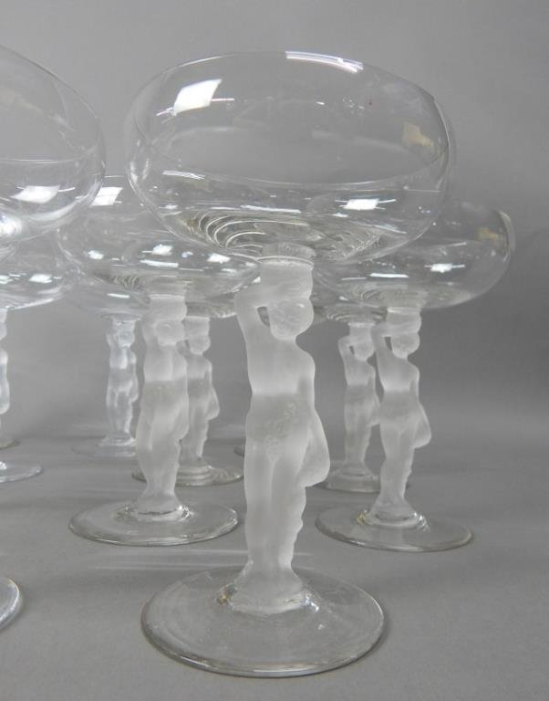 Fourteen Crystal Frosted Nude Lady Stemware - 2