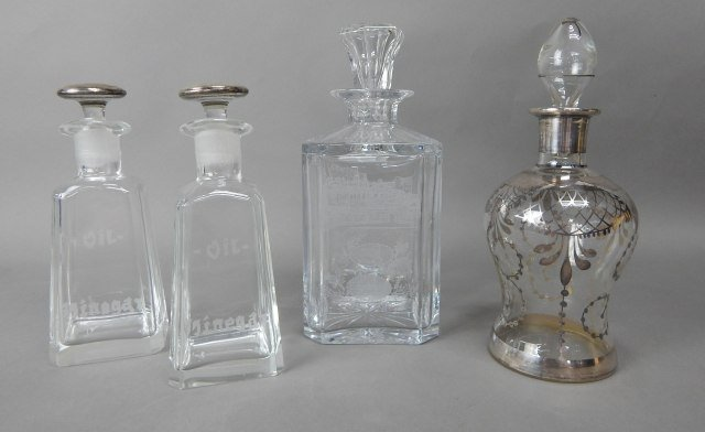 Four Crystal With Sterling Decanters