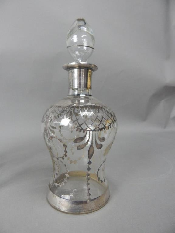 Four Crystal With Sterling Decanters - 2