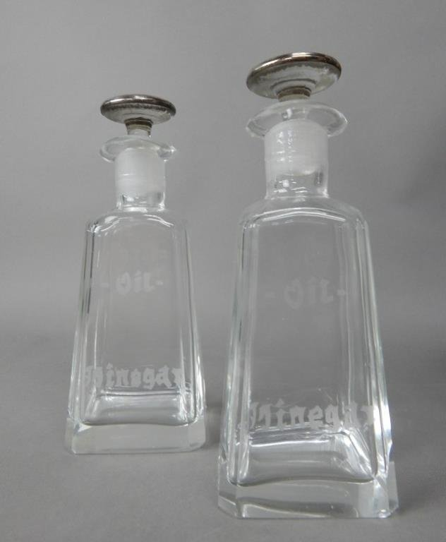 Four Crystal With Sterling Decanters - 3