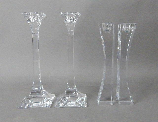 """""""Nambe"""" & """"Tiffany & Company Crystal Candle Sticks"""