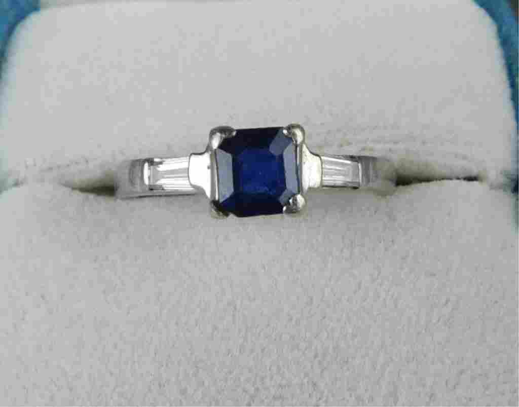 Platinum Ring Set  With Sapphires and Baguettes