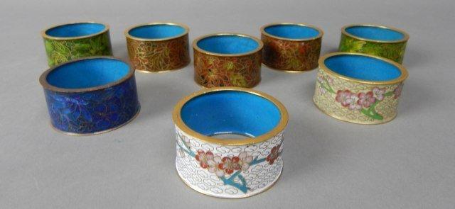 Eight Cloisonne Napkin Rings