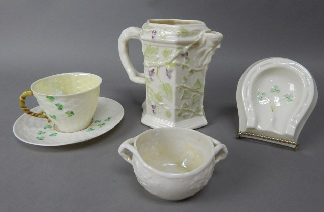 Collection Of Five Vintage Belleek Items