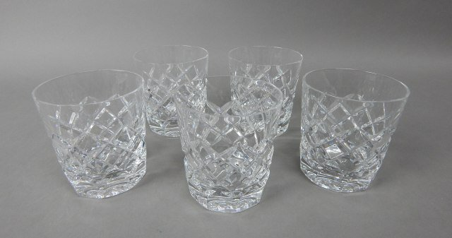 Five Gorham Crystal Rocks Bar Glasses