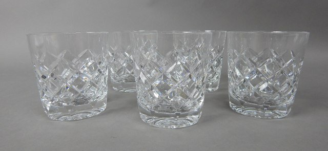 Five Gorham Crystal Rocks Bar Glasses - 2