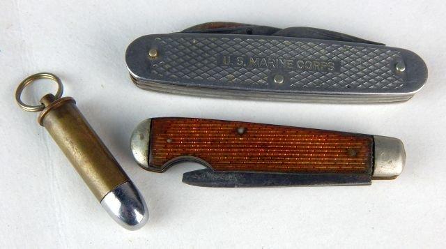 Miniature Gun, Pocket Knives & 44 Cal Shell Casing - 5