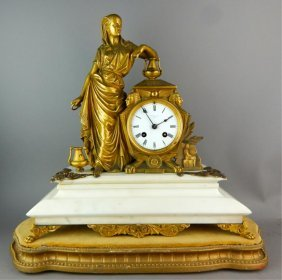 Egyptian Revival Gilt Bronze Figural Clock