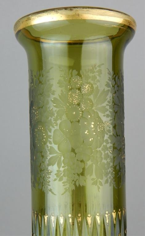Tall Moser Style Green Cameo Art Glass Vase - 2