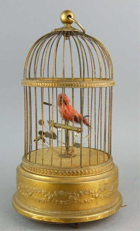 French Automaton Singing Bird in a Cage
