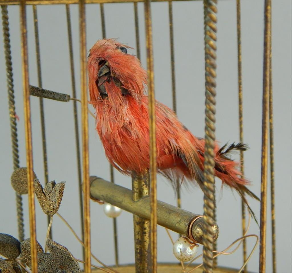 French Automaton Singing Bird in a Cage - 2
