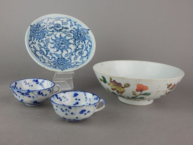Old Chinese Porcelain Bowl, Plate and Cups