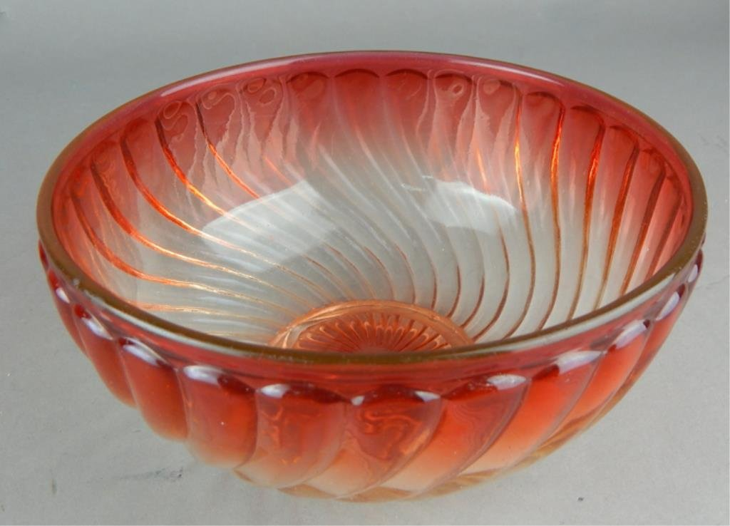 Baccarat Amberina Glass Serving Bowl