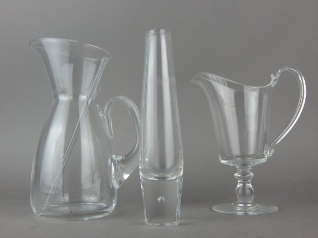 Steuben Glass Vase, Pitchers and Stirrer