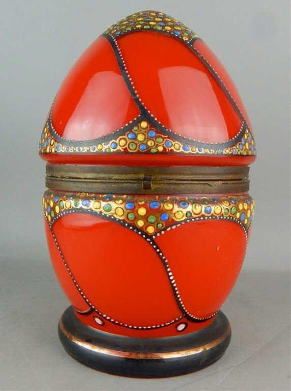 Czechoslovakian Enamel Bohemian Red Glass Egg Box