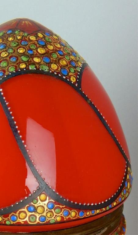 Czechoslovakian Enamel Bohemian Red Glass Egg Box - 3