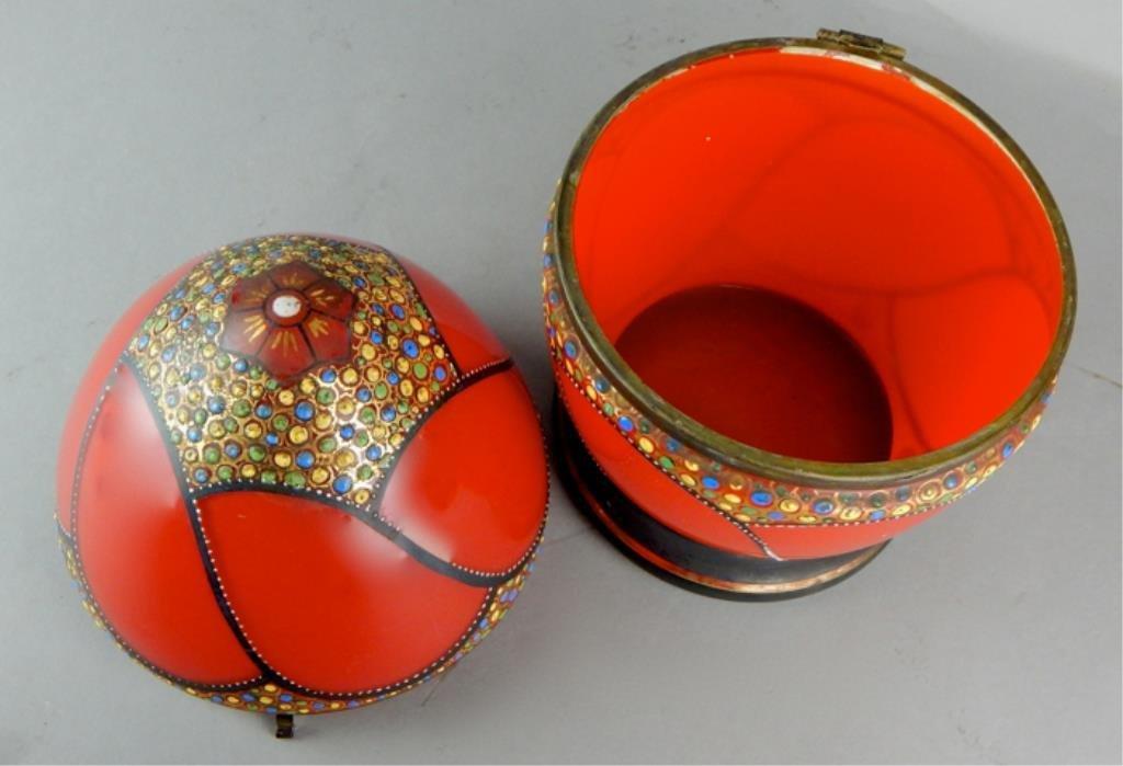 Czechoslovakian Enamel Bohemian Red Glass Egg Box - 4