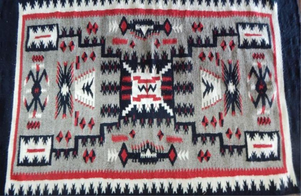 Navajo Storm Pattern Handwoven Rug By Ruth Yazzie