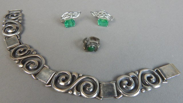 Sterling Silver Bracelet,Earrings and Ring