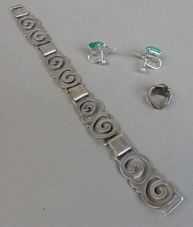 Sterling Silver Bracelet,Earrings and Ring - 6