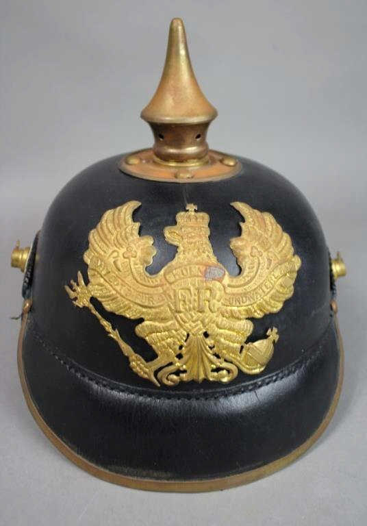 Black Leather Pickelhaube Spike Helmet