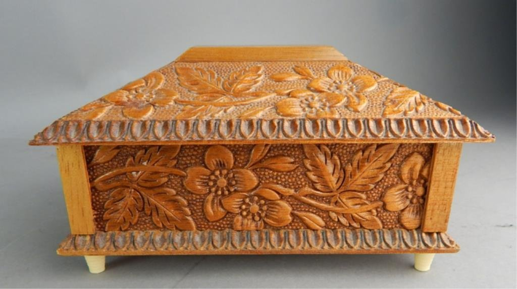Reuge Swiss Carved Wood Music Box