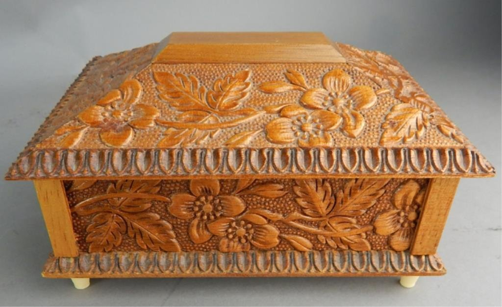 Reuge Swiss Carved Wood Music Box - 2