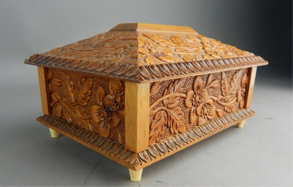Reuge Swiss Carved Wood Music Box - 4