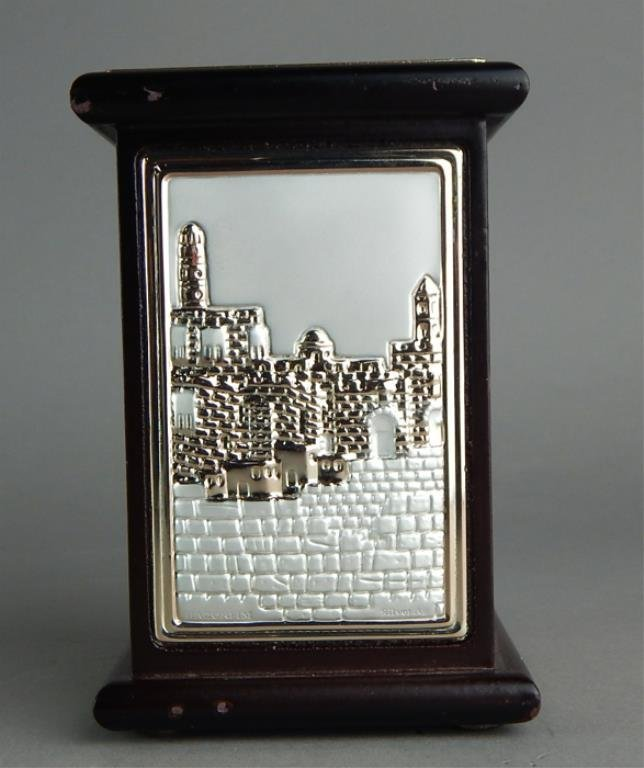 Jerusalem Sterling Silver Scene on Wood Bank - 2
