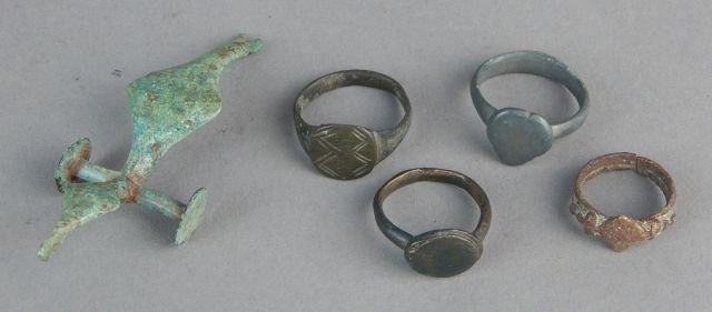 Roman Bronze Rings and Dragon Toy