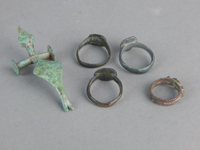 Roman Bronze Rings and Dragon Toy - 2