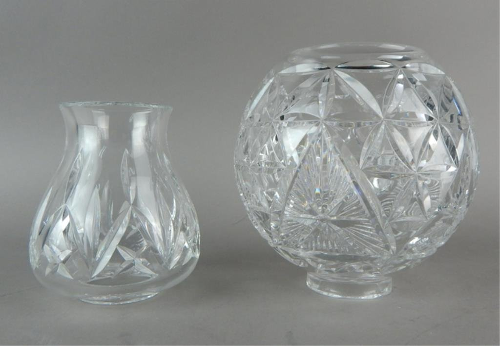 Two Waterford Crystal Hurricane Shades